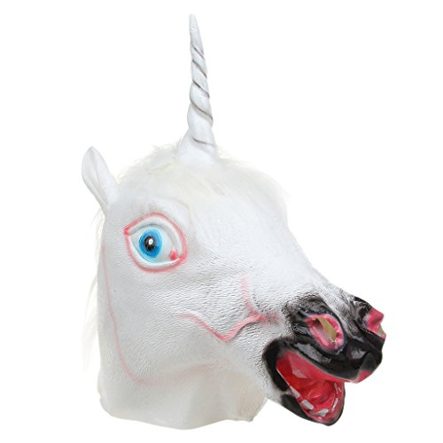 Funny/ Awesome Vinyl Unicorn Head Mask for Halloween Masquerade Party/ Cosplay- White