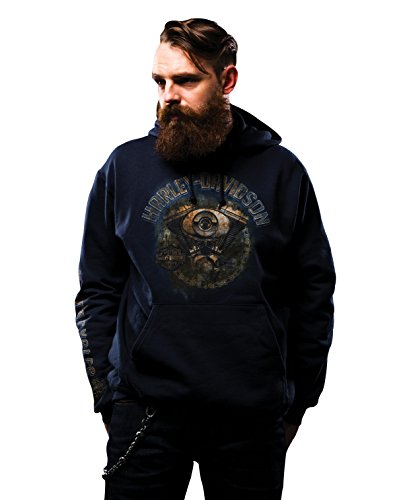 Harley-Davidson Mens Hit The Pavement Rusted Engine Pullover Blue Long Sleeve Hoodie - LG