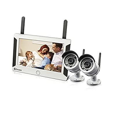 Swann SWNVW-470PK2-US NVW-470 All-in-One SwannSecure Wi-Fi HD Monitoring System with Monitor and 2 x Cameras (White)