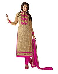 Lookslady Brand Women's Clothing Georgette Beige Semi stitch Salwar Kameez Dupatta Suit | Quality Checked | Genuine Product | Not a ready made dress