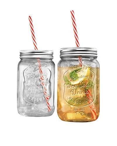 Home Essentials Set of 2 Ice Cold 30-Oz. Mason Drinking Jars, Clear