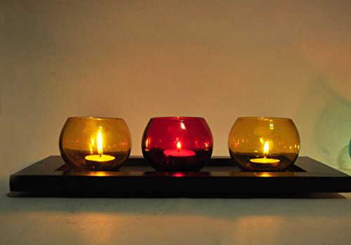 TIEDRIBBONS Handmade Glass T-light holder Pack of 3(Multicolor, Glass) with Wooden Tray and T-light Candle