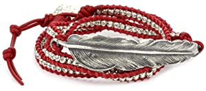 M.Cohen Handmade Designs Silver Feather and Silver Beads On Red Triple Wrap Bracelet