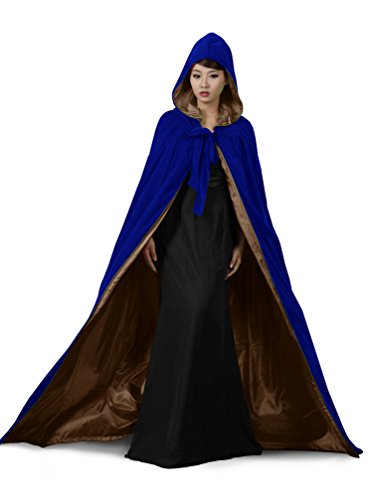 PingFeng Halloween Wedding Cloak Blue Velvet Hooded Cape Brown Satin Wicca SCA