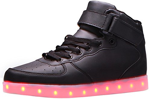 Herobest Light Up LED Shoes for Women Men - 7 Static & 3 Dynamic Color Modes, 1 Strobe Mode - Trendy Rechargeable LED Sneakers (Charger Included) gb518-c,Black,US7.5/EU40