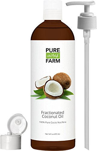 Fractionated Coconut Oil (Liquid) - Large 16oz - WITH PUMP + FREE Recipe eBook! - Use with Essential Oils and Aromatherapy as a Carrier and Base oil - Add to Roll-On Bottles for Easy Application (Aroma Free Coconut Oil compare prices)