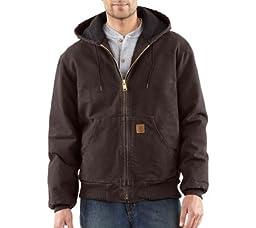 Carhartt Men\'s Sandstone Active Flannel Lined Jacket J130,Dark Brown,US M