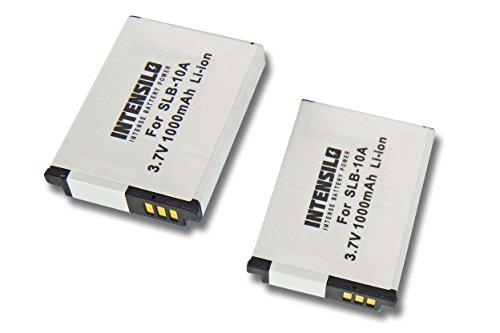 INTENSILO 2x Li-Ion Akku 1000mAh (3.7V) für Kamera Camcorder Video Silvercrest Action Cam SCAA 5.00 A1 wie AT-S60, FJ-SLB-10a.