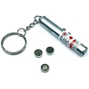 Jazooli 2 in 1 Mini Keyring Red Laser Pointer Pen + LED Light