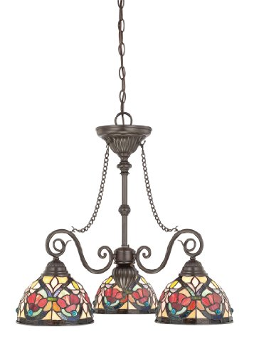 B004K7525C Quoizel TFLR5103VB Larissa 3-Light Tiffany Chandelier, Vintage Bronze