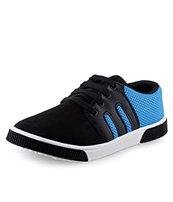 Earton Men's Black & Blue Canvas Sneakers