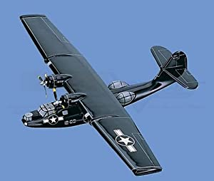 "PBY-5 Catalina  ""Black Cat Squadron"" - Navy Airplane Model Toy. Mahogany Wood Model Aircraft Scale: 1/64"