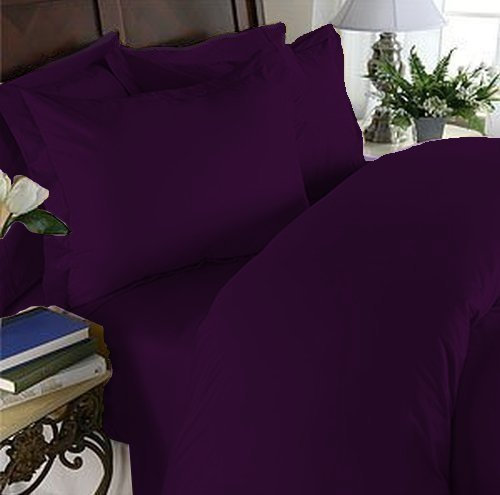 "Elegant Comfort® 1500 Thread Count Luxury Silky Soft Wrinkle & Fade Resistant 4 Pc Sheet Set, Deep Pocket Up To 16"" - All Size And Many Colors , Queen Dark Purple"