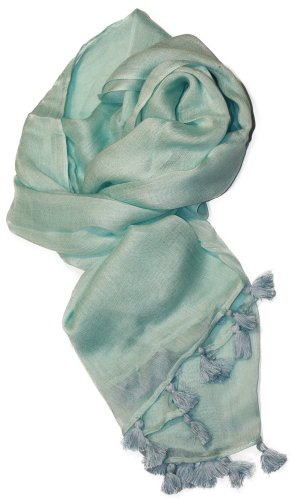 LibbySue-Summer Linen Look Solid Scarf Shawl with Tassels