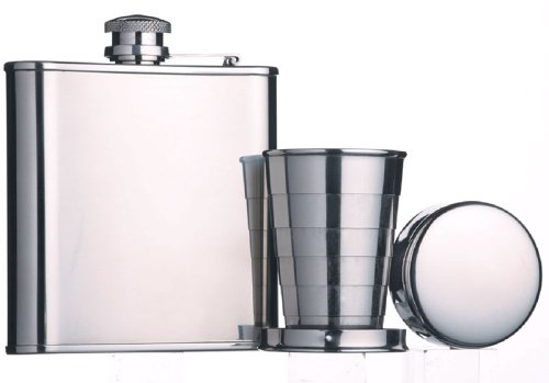 Barcraft Stainless Steel Hip Flask and Cup Set