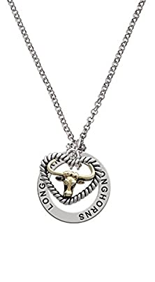 buy Gold Tone Longhorn In Rope Heart - Longhorns Affirmation Necklace