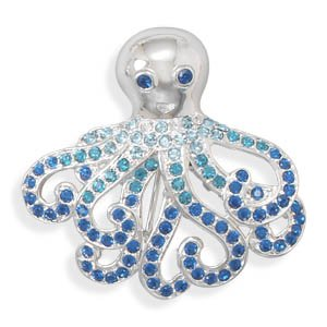 Octopus Fashion Pin with Blue Crystals