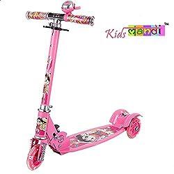 Kids Mandi (TM) Smash Street Style Skateboard Four Rounds Of Flash 3 to 12 years old Children Music Scooter Folding Pedals Block Flashing Wheel (Pink)