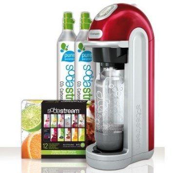 Sodastream Fizz Soda Machine - With (2) X 60-liter Co2 Carbonator Reusable Spare Cylinders - Mega Pack Bonus Bundle Kit Also Includes 12-flavor Taste Samplers and One 1liter Reusable Carbonating Bottle - RED (Soda Cylinder compare prices)