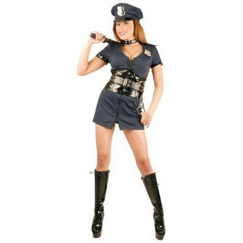 Double-Zip Officer Naughty Adult Costume, Blue, Medium [Office Product]