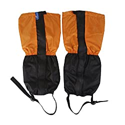 Generic 1 Pair Kids Child Fleece Thermal Waterproof Snow Gaiters Cover -Orange Black