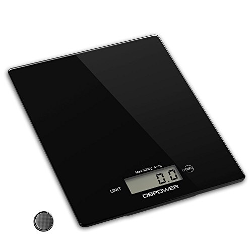DBPOWER 11lb/5000g Digital Kitchen Scale, 0.1oz Resolution, Multifunction Kitchen Food Scale Measuring, High Precision Touch Sensitive, Tempered Glass, Black