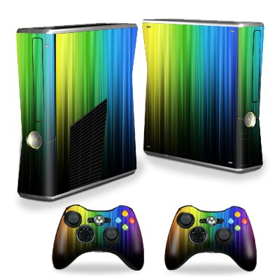 Protective Vinyl Skin Decal Cover for Microsoft Xbox 360 S Slim + 2 Controller Skins Sticker Skins Rainbow Streaks
