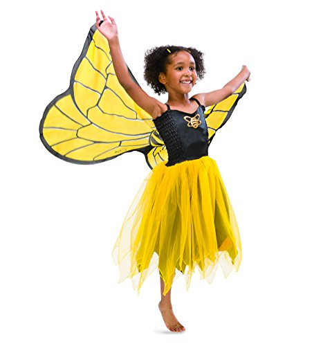 Fanciful Fabric Bumblebee Dress with Wings, Size Medium