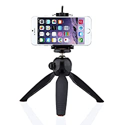 Cell Phone Tripod,Yunteng Mini Tripod + Universal Holder Clip for Digital Camera & iPhone 6 Plus 6 5S 5C 4S & Samsung Galaxy S6 S6 edge S5 S4 S3 Note 4 3 2 and other cell phones (Black)