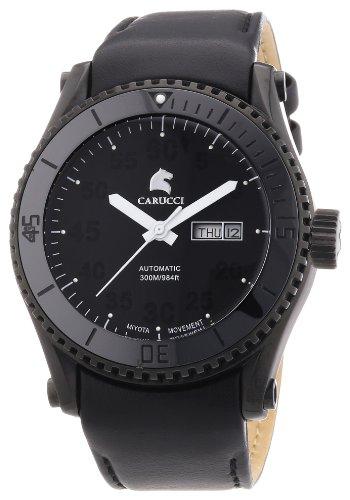 Carucci Watches Tarent CA2196BK-BK - Reloj analógico automático para hombre, correa de cuero color negro