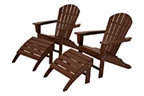 Hot Sale POLYWOOD PWS137-1-MA South Beach 4-Piece Adirondack Chair Set, Mahogany