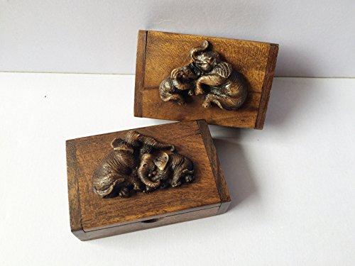 Wooden Box Thai Antique Trinket Vintage Small Craft Elephant Decorated Set 2 Collection Teak Wood (Jack Reacher Prime Movie compare prices)