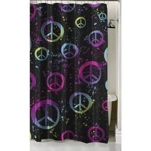 Girl Black Pink Green Purple Peace Fabric Shower Curtain