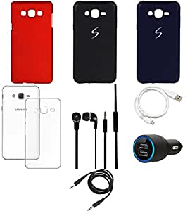 NIROSHA Cover Case Car Charger Headphone USB Cable car for Samsung Galaxy ON5 - Combo