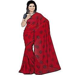 Pawan Tex saree for women's (saree76_red)