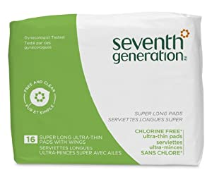 Seventh Generation Chlorine Free Ultrathin Super Long Pads, 16-count Packages (Pack of 12) (192 pads)