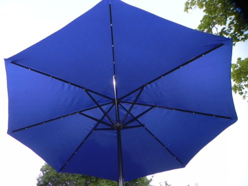 Solar LED Umbrella Blue patio umbrella with 32 led's