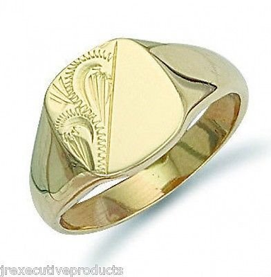 J R Jewellery 414302 9ct Yellow Gold Gents Engraved Cushion Signet Ring - British Made - 8.50 grams