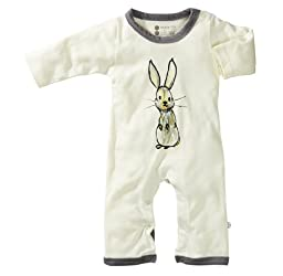 Babysoy Baby-Boys Janey Baby One Piece Bodysuit, Gray, Bunny, 3-6 Months