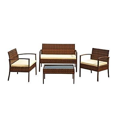 1PLUS Sitzgruppe Polyrattan Lounge Set Muscat, 7-teilig, inkl. Sitzkissen, Aluminiumgestell, GS zertifiziert