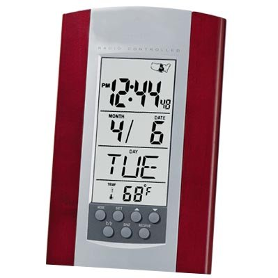 Atomic Clock with Calendar, Temperature and Rosewood Trim