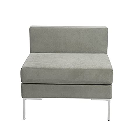 Euro Style Vittorio Sofa with Armless Unit, Gray