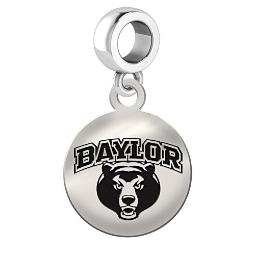 Baylor Bears Sterling Silver Round Drop Charm Fits All European Style Bracelets