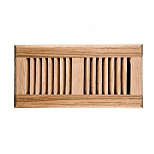 Red oak self rimming wood vent cover with metal damper for Wood floor vent covers