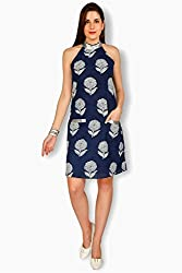 Free Spirited Blue Cotton Fitted Dress For Women