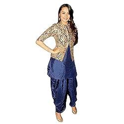 khazanakart fashion women exclusive & designer blue cotton latest bollywood & party wear dress materials