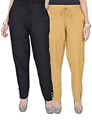 Kalrav Solid Black and Brown Cotton Pant Combo