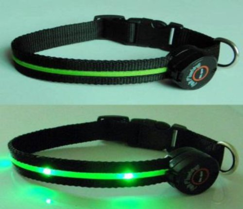 Multi-Function Dog Collar with Green LED Lights - Large
