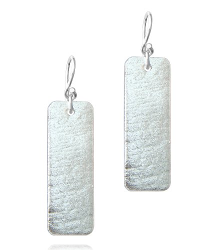 Sterling Silver Dichroic Glass Translucent Silver Color Rectangular Earrings