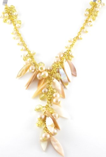 Pink Shell & Glass Bead Necklace On Gold Coloured Metal Chain With Extender